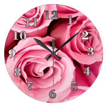 Pink Roses Round Wall Clock Large