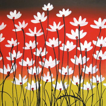 CONTEMPORARY ORIGINAL ACRYLIC PAINTING ON CANVAS flower painting very textured
