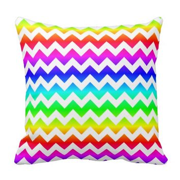 Rainbow White Chevron Throw Pillow