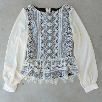 .Wisteria Lace Blouse [4951] - $22.40 : Vintage Inspired Clothing & Affordable Dresses, deloom | Modern. Vintage. Crafted.