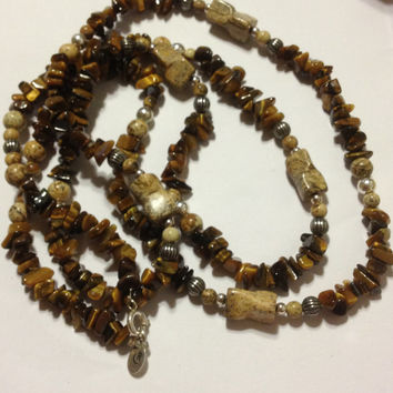 "Carolyn Pollack Tiger Eye Necklace 36"" Sterling Silver 925 Jasper Sandstone Southwestern RELIOS Vintage Jewelry Christmas Holiday Gift USA"