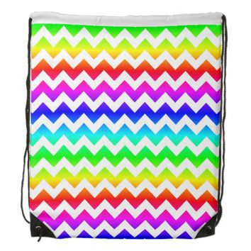 Rainbow White Chevron Drawstring Backpack