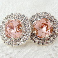 Blush Pink crystal rhinstones stud earrings, Bridal stud earrings, Bridesmaids gift, Estate style jewelry, Swarovski large stud earrings
