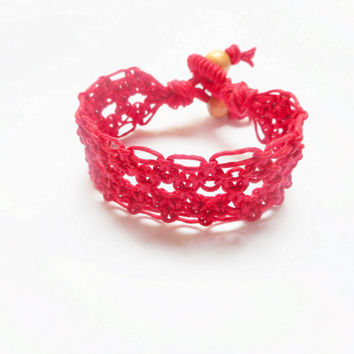 Red Diamond Lace Hemp Cuff Bracelet, ready to ship.