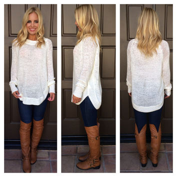 Around The Bend Knit Sweater - IVORY