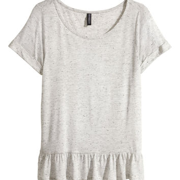 H&M - Ruffled Top - Gray melange - Ladies