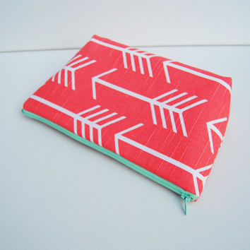 Coral and white arrow zipper pouch, cosmetic bag, clutch, purse organizer, pencil case