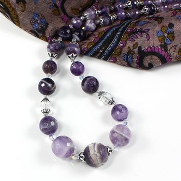 Handmade Chevron Amethyst Purple Necklace Swarovski Crystals Silver
