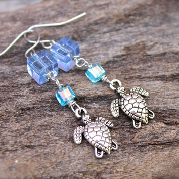 Sea Turtle Earrings - Hawaiian Honu Jewelry - Sea Turtle Jewelry from Hawaii - Hawaiian Honu Earrings - Hawaiian Jewelry - Beach Earrings