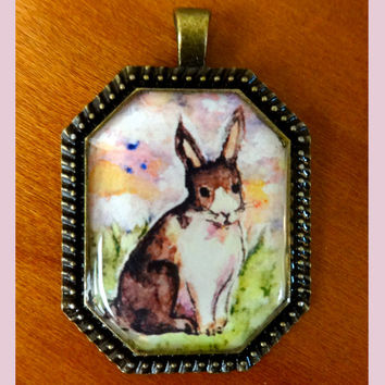 Watercolor Bunny Necklace