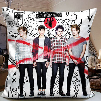 5SOS High School Collage Decorative Pilllow Cover 18x18 inches for One Side and Two Side
