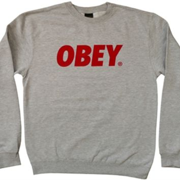 justanother.co.uk. Obey Clothing: Obey Font crew neck sweatshirt in heather grey
