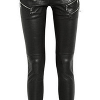 Balmain|Zip-detailed leather skinny pants|NET-A-PORTER.COM