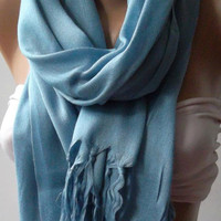 Cotton Blue Shawl Scarf by womann on Etsy,,,,