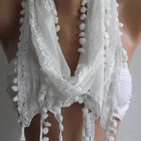 White Lace and Elegance Shawl / Scarf by womann on Etsy,,,,
