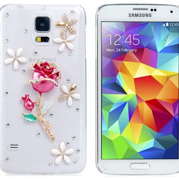 Crystal Rose Plastic Case for Samsung Galaxy S5