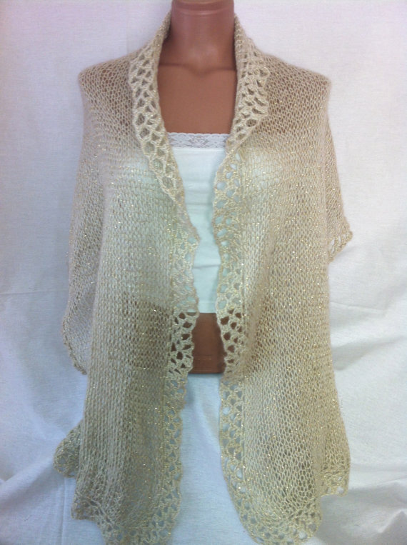 Cream color gold sim Shawl Scarf fallwinterspring by Arzus on Etsy