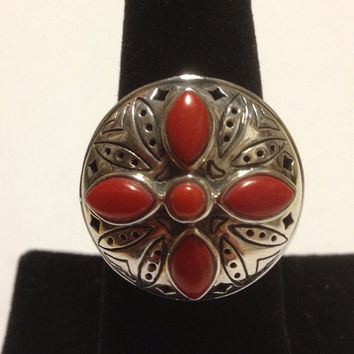 Red Coral Sterling Ring Size 8 Jean Lin 925 Silver Tribal Southwestern Vintage Jewelry Christmas Birthday Holiday Cocktail Anniversary Gift