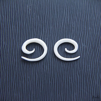 12g Spiral Gauge, Small Bone Earring 2mm or 12 Gauge Piercing Plug
