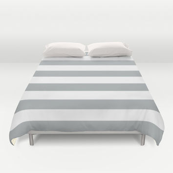 Stripe Horizontal Grey & White Duvet Cover by BeautifulHomes | Society6