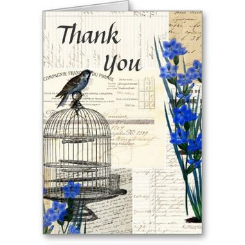 Vintage Birdcage Blue Flowers French Thank You