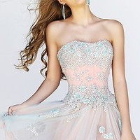 Strapless Lace Corset Style Party Dress by Sherri Hill 11062