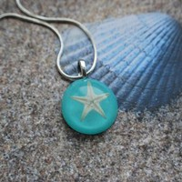 NaturalPrettyThings | Real Starfish Necklace turquoise Aqua Resin Necklace Deep Green Ocean Star Specimen Beautiful Beach Wear | Online Store Powered by Storenvy
