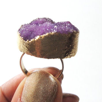 Imperial Purple  Gold Plated Druzy Ring, Druzy Drusy Crystal Quartz Adjustable  Gold Dipped Rings, Bohemian Gypsy Chic