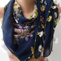Dark Blue Turkish Shawl / regional neddlework anatolian by womann,,,,