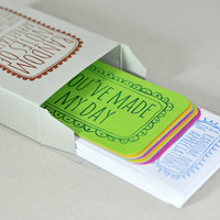 Random Notes of Appreciation - Box of letterpressed Notecards perfect for Mothers Day, and birthdays. Love, friendship, positive words