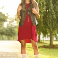LOVE STITCH:Rebel Without A Cause Vest-Chocolate