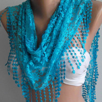 Blue / Elegance Shawl / Scarf with Lacy Edge by womann on Etsy,,,,