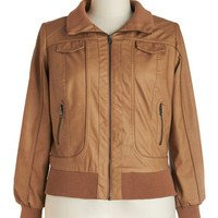 ModCloth Urban Long Sleeve Apple Butter Outing Jacket in Plus