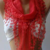 pomegranate flower Elegance Shawl / Scarf with Lace by womann,,,,