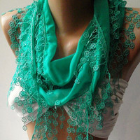 Nile Green Elegance Shawl / Scarf with Lace Edge by womann,,,,