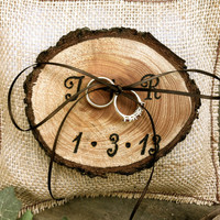 Rustic wedding ring bearer pillow holder forest country fall winter weddings