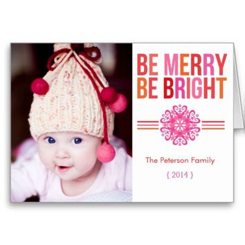 2014 BE MERRY BE BRIGHT Folded Christmas Card