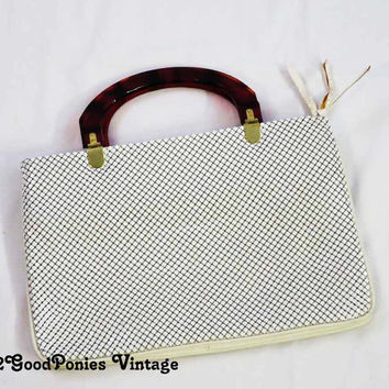 White Mesh Bag with Lucite Handles