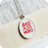 Bad Ass Mofo hand embroidered red white silver by KnotworkShop