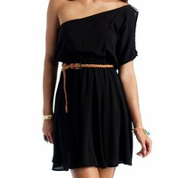 asymmetrical belted dress $25.30 in BLACK MOCHA - Casual | GoJane.com