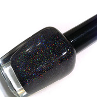 "Nail polish - ""Dark Crystal"" micro holographic glitter in a black base"