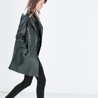 LEATHER COAT WITH ZIPS