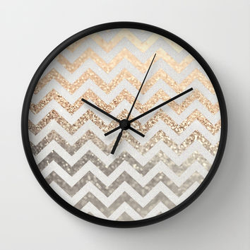 GATSBY GOLD & SILVER Wall Clock by Monika Strigel | Society6