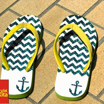 Flip Flops - Chevron Anchor Blue Sparkly