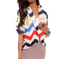 Zig It Back Open Jacket in Multi :: tobi