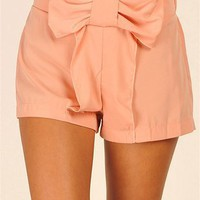 Wonderland Bow Shorts - Peach at Necessary Clothing