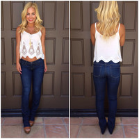 Lace To The Finish Scallop Tank - WHITE