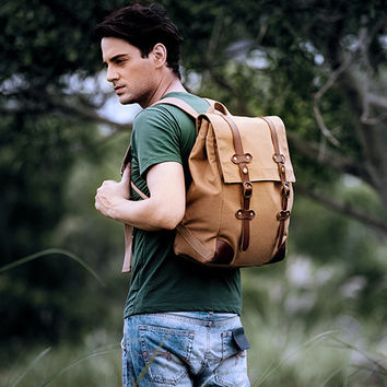 Canvas & Leather Vintage Backpack