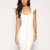 Golden Zipper Front Slim Spliced Dress