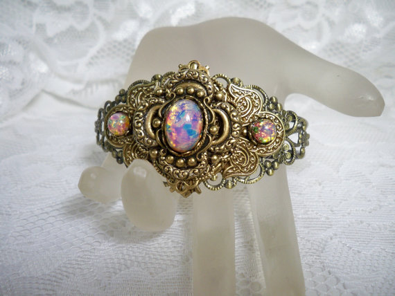 Sale - Vintage Style Bracelet Pink Fire Opal - Free Shipping